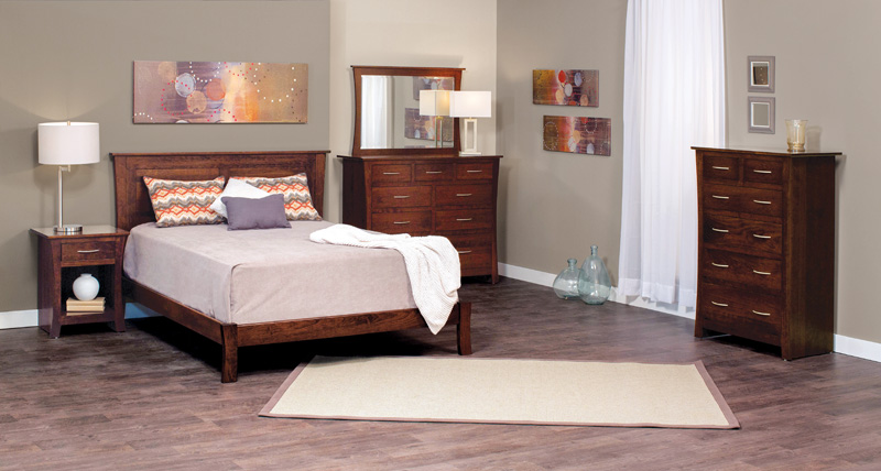 Garrett Sleep Collection – Shown in Cherry-Mocha Nut.  Entire collection available in our Express and Quickship Program in Cherry wood