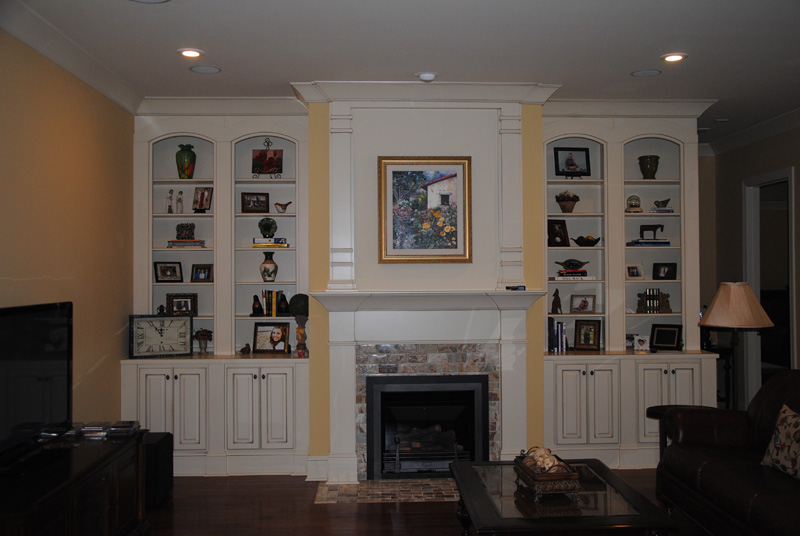 painted Bookcases and double mantle