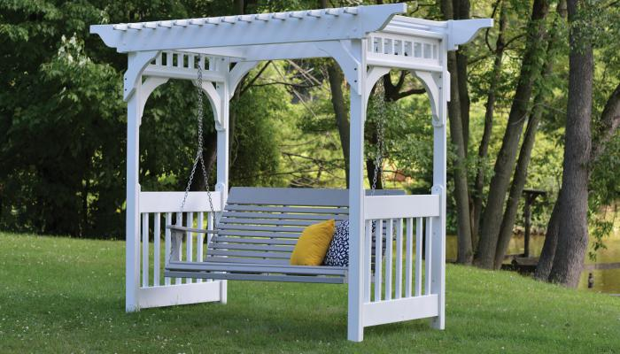Vinyl swing arbor in white