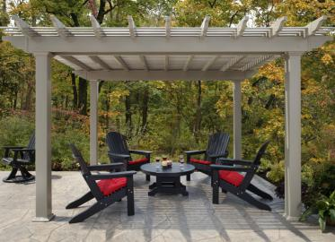 12 x 14 Vinly Pergola with deluxe shade and square posts