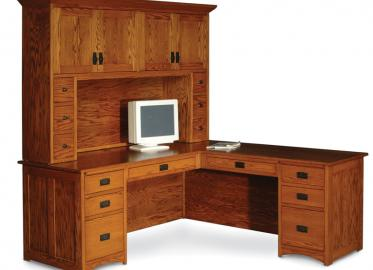Prairie Mission L-Shape desk with Prairie Mission Hutch top