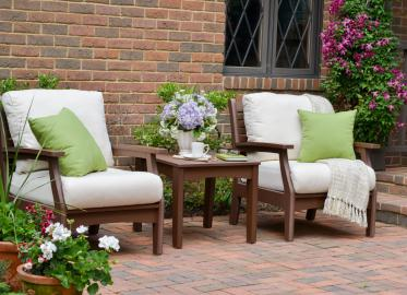 Classic Terrace Chocolate Frames & Sailcloth Shell Cushions Lifestyle