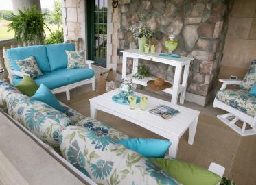 Classic Terrace White Frames & Violetta Baltic & Canvas Aruba Cushions Lifestyle