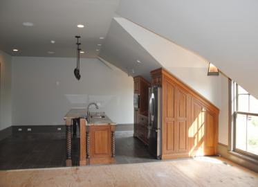 Upstairs Kitchen Poplar - Miter corner doors
