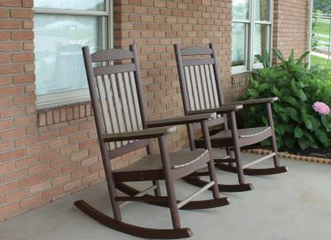 Weatherwood on Chocolate Brown Porch Rockers