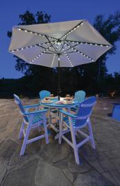 Chairs at table with umbrella