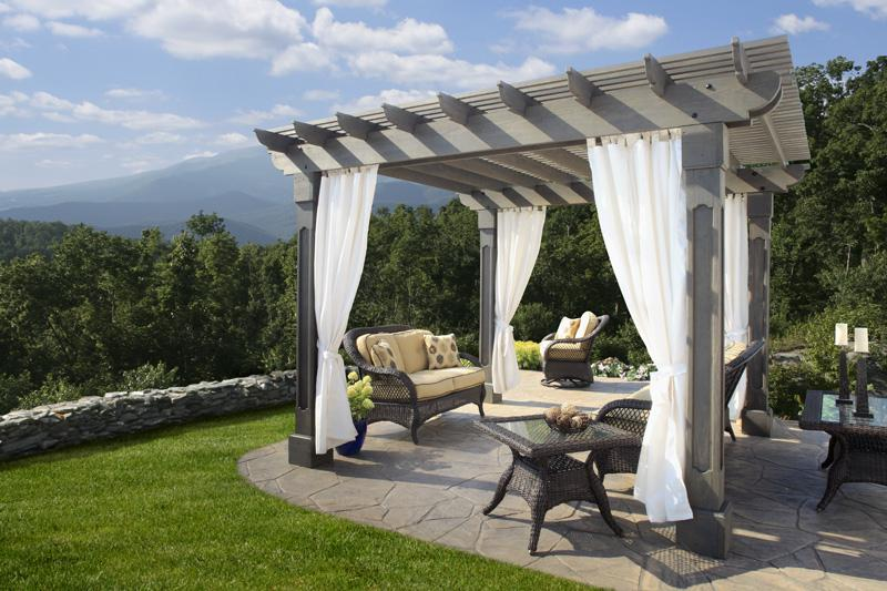 12 x 12 Wood Pergola with Outback top and Grandfather posts. Shown with Storm Cloud Gray Stain and Linen Natural curtains