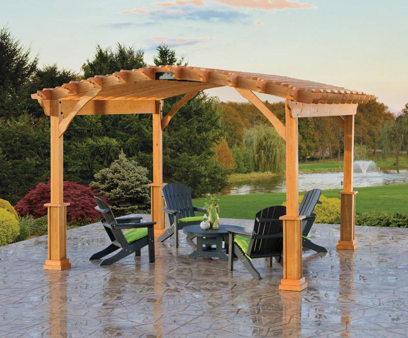 14 x 14 Wood Pergola with Riviera top and savannah posts. Shown with Cedartone stain.