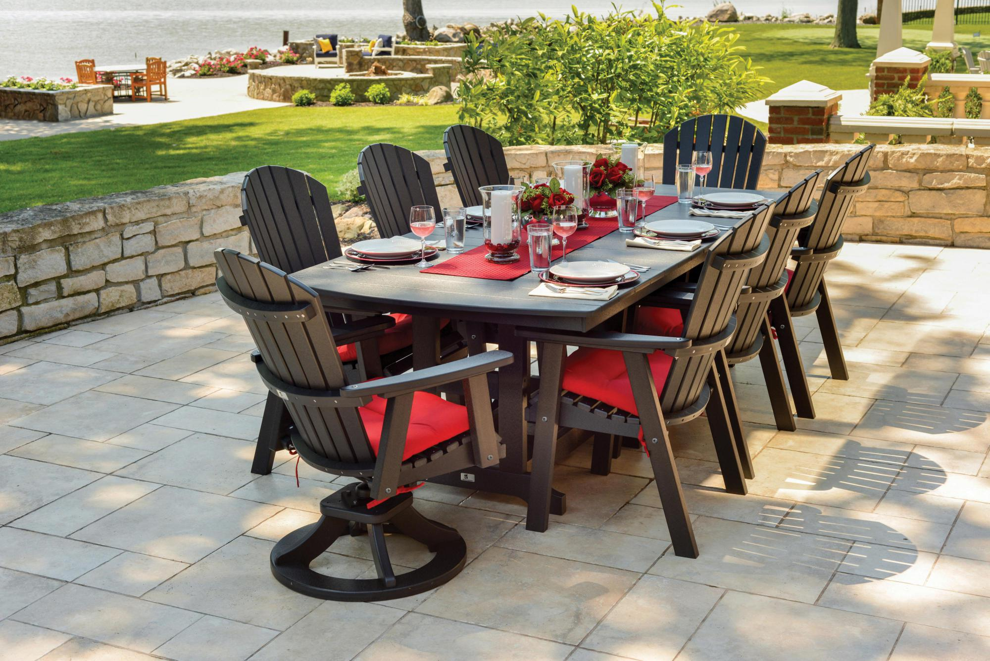 Comfo Back Dining Chairs and Swivel Rockers with 44x96 Inch Table Lifestyle