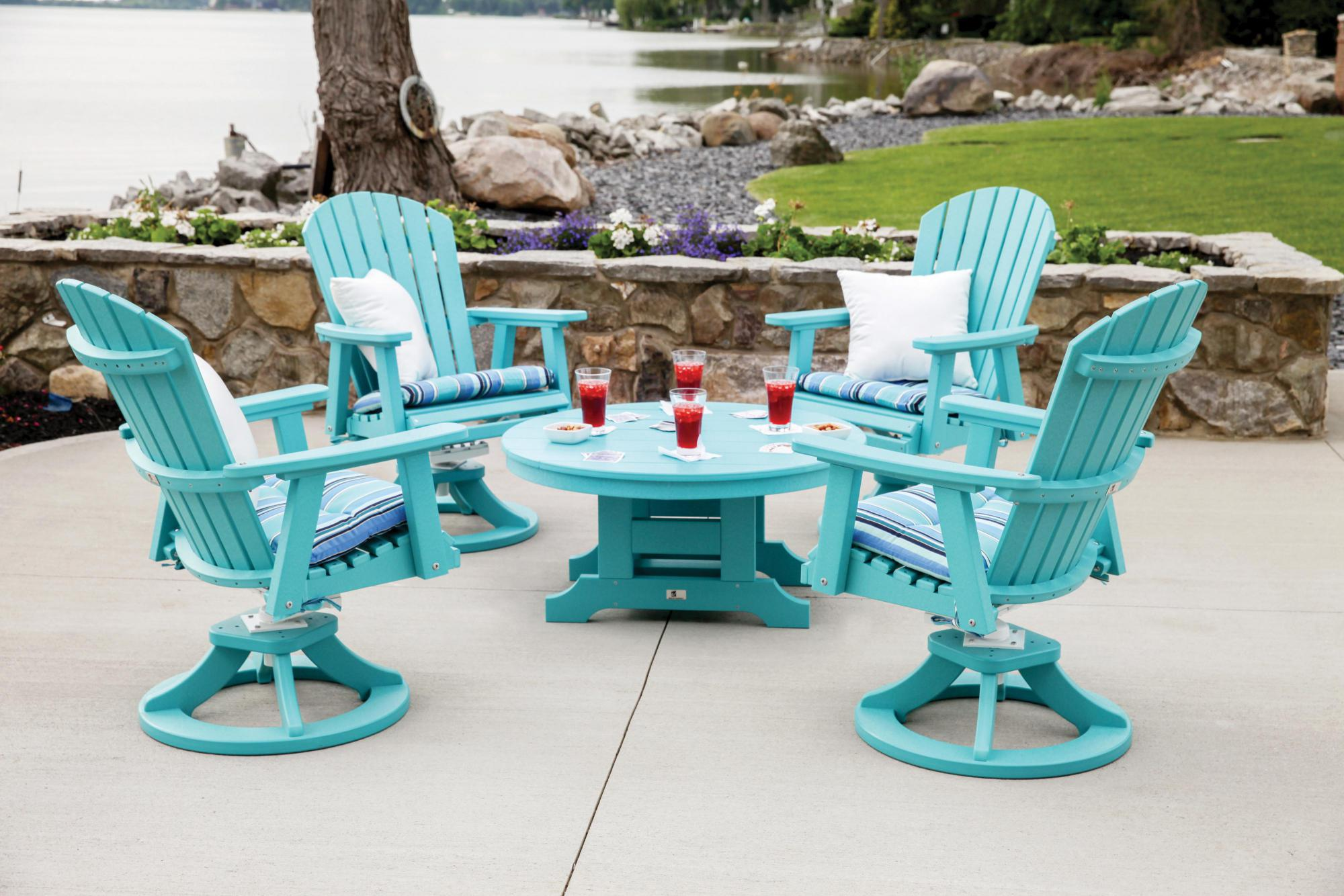 Comfo Back Swivel Rockers with 38 Inch Round Conversation Table Lifestyle