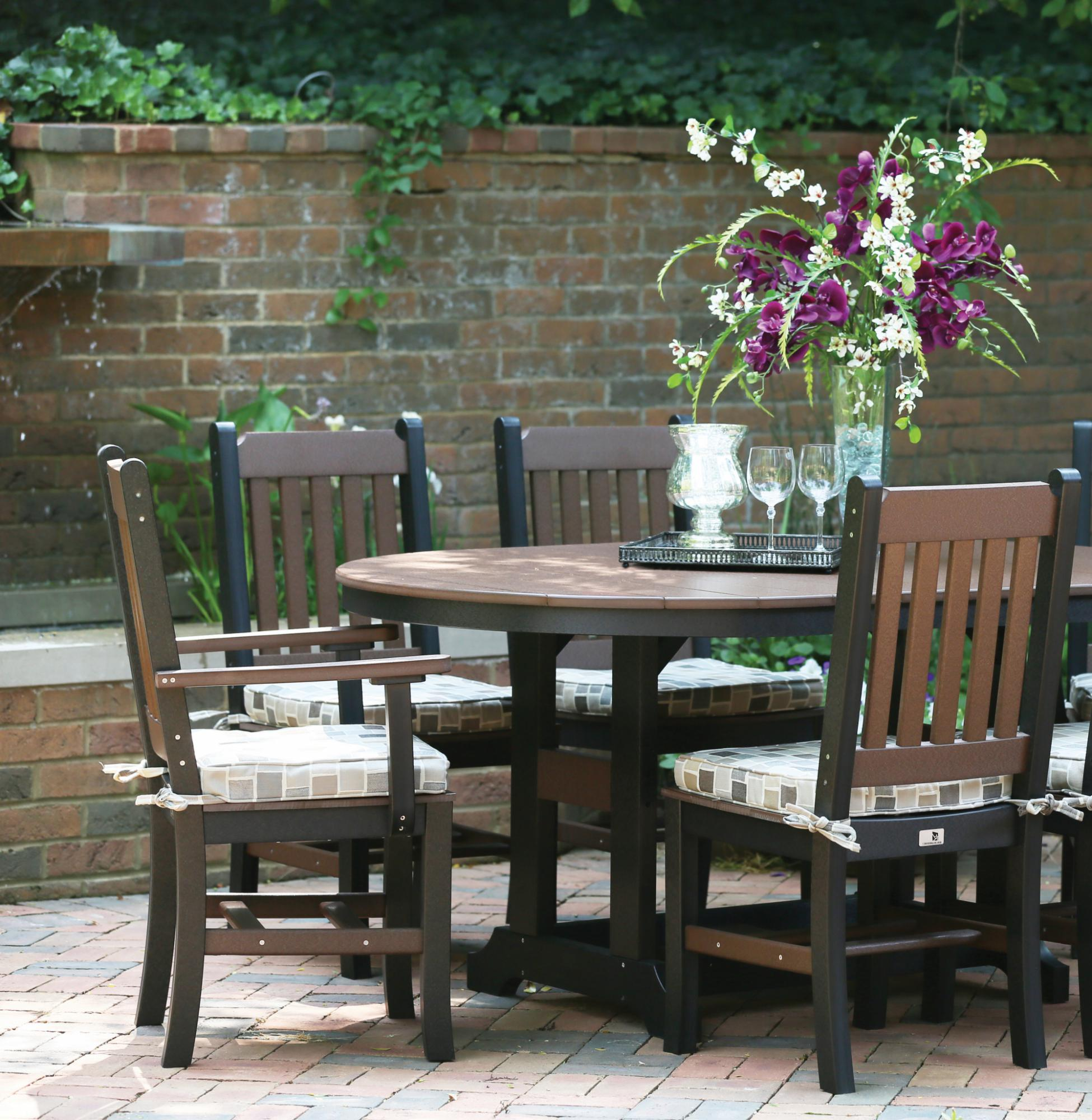 Garden Mission Dining Chairs with 44x64 Inch Oblong Table