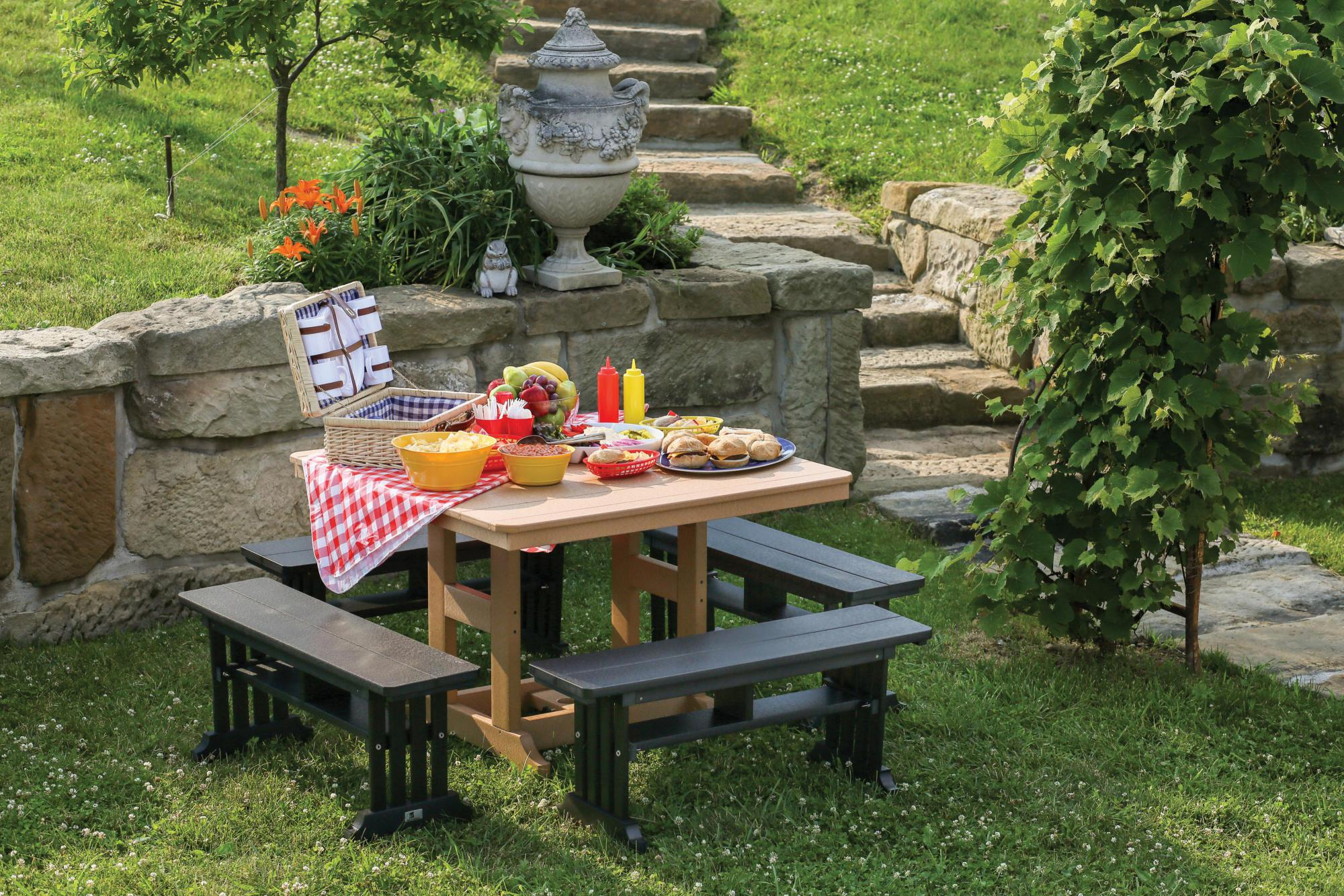 Garden Mission Straight Benches with 44x44 Inch Table
