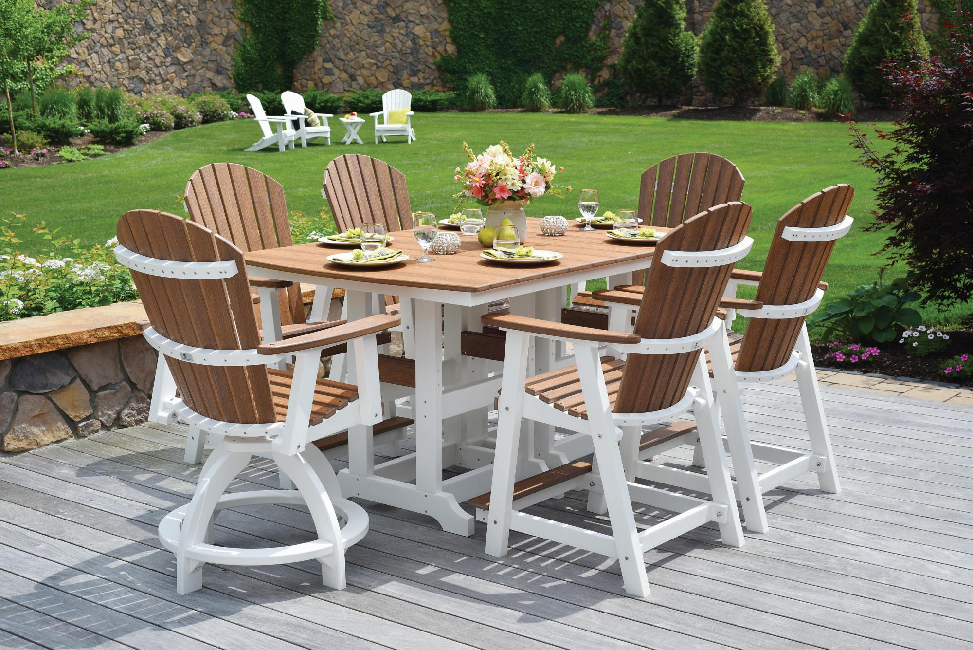 Natural Finishes Antique Mahogany on White 44x72 Table with Chairs